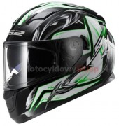 KASK MOTOCYKLOWY LS2 FF320 STREAM STEEL WHITE BLACK GREEN - INTEGRALNY, BLENDA