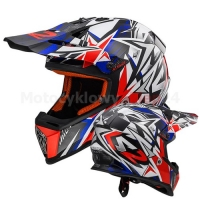 KASK MOTOCYKLOWY LS2 MX437 FAST STRONG WHITE BLUE RED - CROSS, ENDURO, QUAD