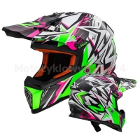 KASK MOTOCYKLOWY LS2 MX437 FAST STRONG WHITE GREEN PINK - CROSS, ENDURO, QUAD